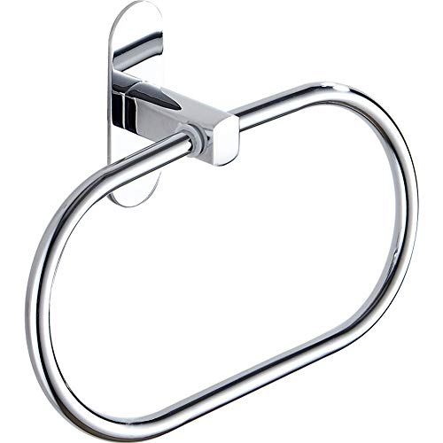 (QJRWX 304 SUS Stainless Steel Bathroom Towel Ring, Rustproof- Punch Free Powerful Suction,Chrome -Shower Washcloth Hand Towel Holder(2Pcs))