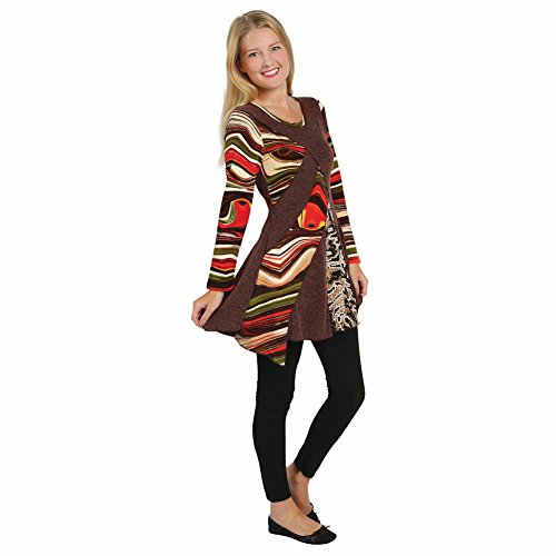 Women's Tunic Top - Desert Rainbow Long Sleeve Layered Shirt - 1X