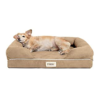 """Friends Forever Sofa Style Orthopedic Pet Bed Mattress Memory Foam   Sofa Style Dog Bed Memory-Foam Bolster Couch with 100% Suede Removable Cover   Size Small 20""""x25""""x5"""" Khaki Beige"""