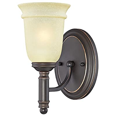 Westinghouse 6343000 Montrose One-Light Indoor Wall Fixture, Oil Rubbed Bronze Finish with Highlights and Mocha Scavo Glass
