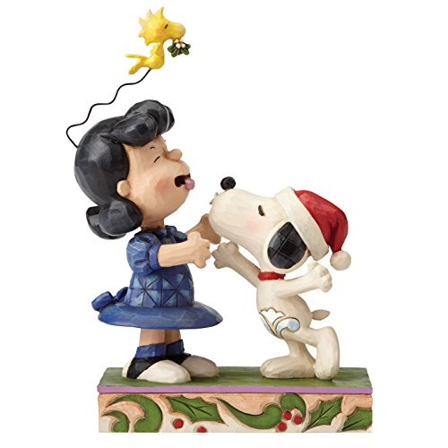 Figurine Mistletoe - Peanuts by Jim Shore Snoopy Kissing Lucy Mistletoe Stone Resin Figurine, 6.3