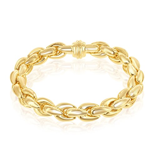 Sterling Silver 14K Gold Overlay Italian Oval Linked 8