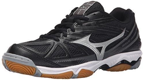 Mizuno Women's Wave Hurricane 2 Volleyball Shoe, Black/Silver, 7.5 D US