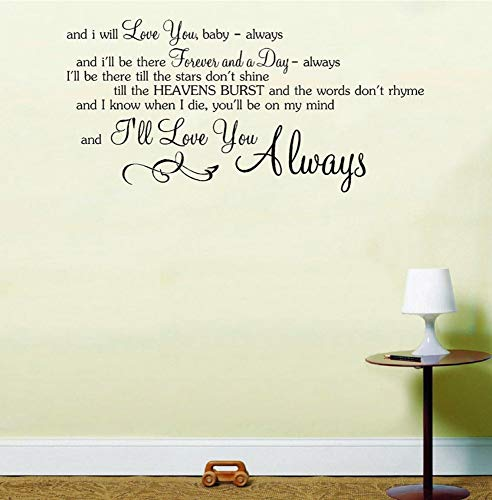 Dalxsh Always Song Music Lyrics Notes Love Quote Sticker Wall Art Sticker Home Decor Rooms Removable Mural Decoration -