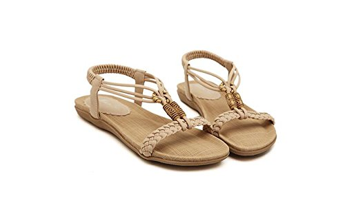 Flops Shoes Flip Beige Flat Women Strap Beach T Sandals Comfort Bohemia Walking Summer wHOnxEqfB