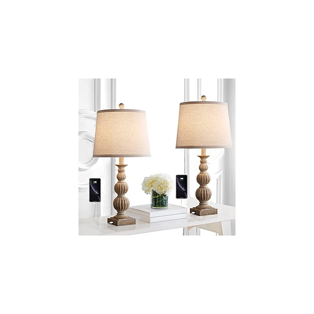 """Rustic Table Lamp Set of 2 Farmhouse Bedside Lamps with Dual USB Ports 26"""" Traditional Table Lamps for Bedroom Living…"""