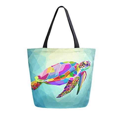 SUABO Turtle Canvas Tote Bag Large Women Casual Shoulder Bag Handbag, Reusable Shopping Grocery Bag for Outdoors