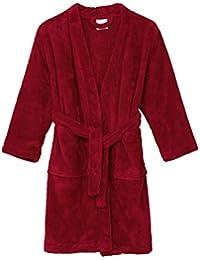 TowelSelections Little Boys' Robe, Kids Plush Kimono Fleece Bathrobe Size 6 Rococco Red