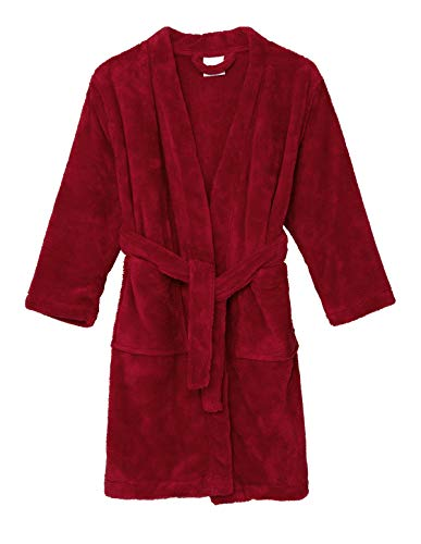 TowelSelections Little Boys' Robe, Kids Plush Kimono Fleece Bathrobe Size 4 Rococco Red