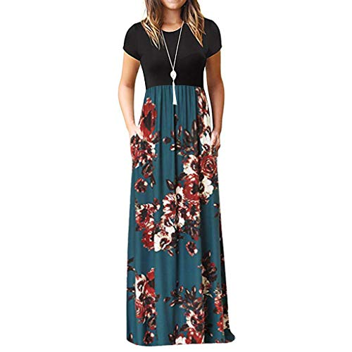 WEISUN Women Casual Dress Short Sleeve O-Neck Print Maxi Dress Summer Tank Plus Size Long Dress Blue