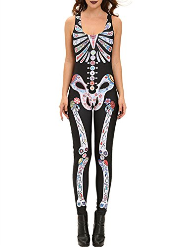 [VIGVOG Women's Sexy Sleevless Skeleton Halloween Costume Catsuit Jumpsuit] (Diy Costumes With Black Corset)