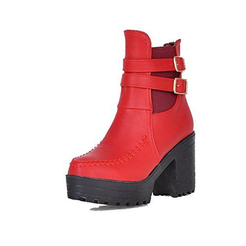 AgooLar Damen Rein Hoher Absatz Rund Zehe PU Ziehen auf Stiefel, Rot, 36