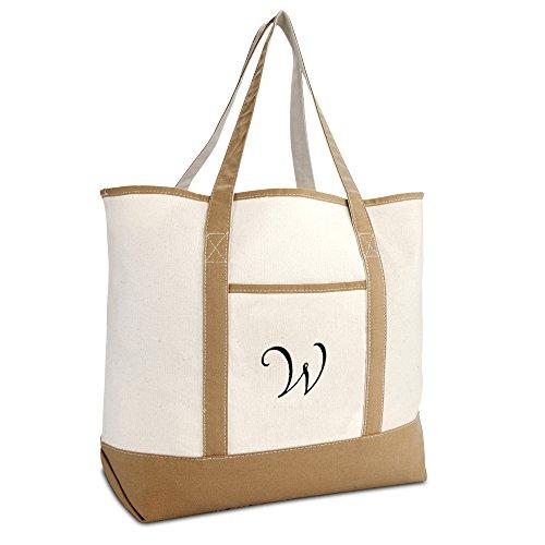 DALIX Women's Natural Tote Bag Shoulder Bags Brown With Monogram Letter ()