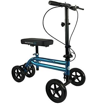 NEW KneeRover Economy Knee Scooter Steerable Knee Walker Crutch Alternative with DUAL BRAKING SYSTEM in Metallic Blue