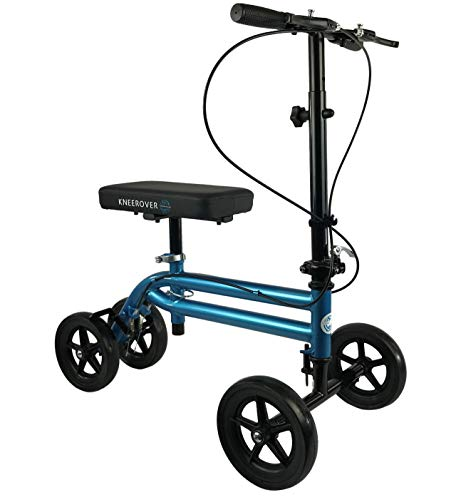 NEW KneeRover Economy Knee Scooter Steerable Knee Walker Crutch Alternative with DUAL BRAKING SYSTEM in Metallic Blue (Best Crutches For Foot Surgery)