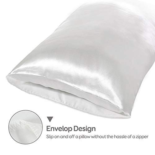 Sivio Satin Pillowcase for Hair and Skin, 2-Pack, Queen/Standard Size (20 x 30 inches), Slip Pillow Cases, Soft Satin Pillow Cover with Envelope Closure, Ivory White