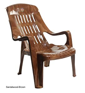 Shree Radhe Krishna Furniture Cello Comfort Plastic Chair Wooden (Brown)