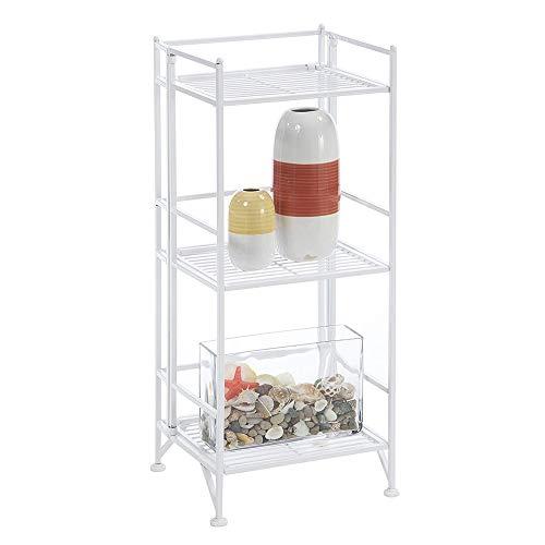 Convenience Concepts Designs2Go X-Tra Storage 3-Tier Folding Metal Shelf, White