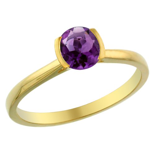 14K Yellow Gold Natural Amethyst Solitaire Ring Round 5mm, size 7