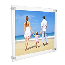 NIUBEE 12x16 and 11x17 inch Clear Acrylic Wall Mount Picture Frames, A3 Letter Size Floating Frameless Photo Frame for Poster Display(12x17 inch)