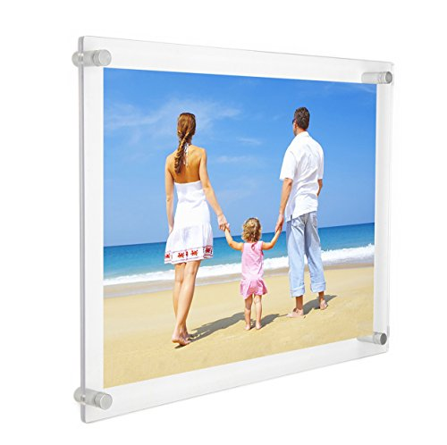 NIUBEE 12x16 and 11x17 Clear Acrylic Wall Mount Picture Frames, A3 Size Floating Frameless Photo Frame for Certificate Poster Display-Double Panel(Full Frame is 14.5x18.5 inch)