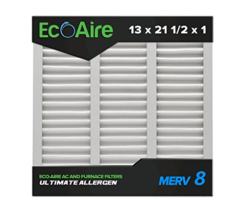 Eco-Aire 13x21 1/2x1 MERV 8, Pleated Air Filter, 13 x 21 1/2 x 1, Box of 6, Made in The USA