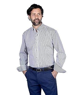 Camisa Manga Larga, con Rayas Verticales de Color Azul Marino ...