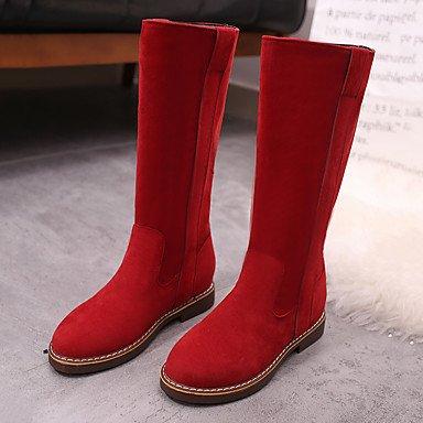 Mid per EU39 RTRY Comfort Inverno donna Scarpe tessuto Calf piatto US8 UK6 Marrone CN39 Verde scarponi tacco Casual Autunno Nero stivali Rosso q4wH7zq