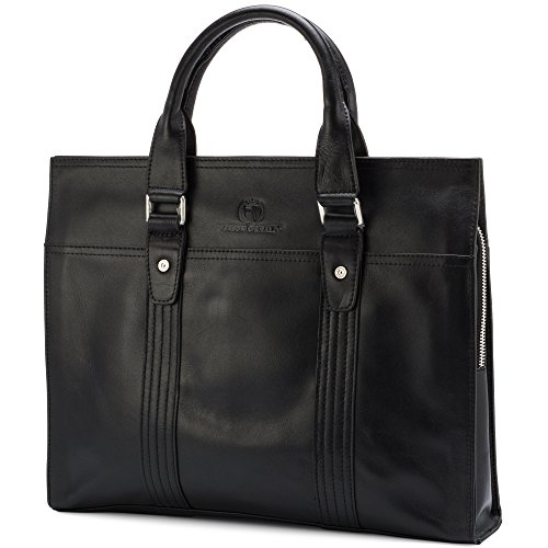Leather Briefcase by Jason Gerald Leather Laptop Bag - Premium Messenger Bag for Men and Women by Jason Gerald (Image #1)
