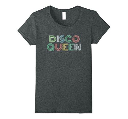 70's Disco Party Costume Ideas (Womens Retro Disco Queen 70's Vintage T-Shirt Throwback Tee Medium Dark Heather)