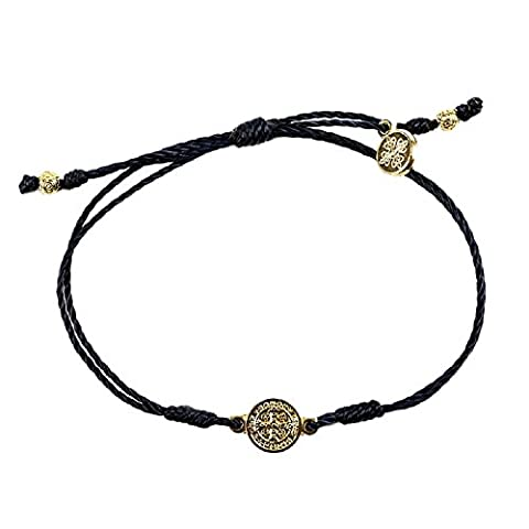 Black Cord Bracelet Is Complimented By a Gold Benedictine Medal, Which Is One of the Most Powerful Symbols of Protection. Each Bracelet Comes Displayed on a Card with Its Story and the Reminder of the Power of Prayer. In Time of Need, Run Your Finger Along the Simple String; Grasp the Medal and Breathe. By Simply Focusing Our Attention on Taking a Breath and Linking That Breath to God, We Can Dispel the Chaos of the - God Prayer Card