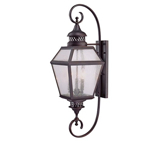 Savoy House 5-774-13 Outdoor Sconce with Pale Cream Seeded Shades, English Bronze - Bronze English Entrance