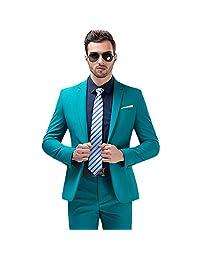 MAGE MALE Mens 3-Piece Suit Slim Fit Notch Lapel Tuxedo Blazer Pants Vest Set