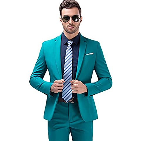 MAGE MALE Mens Solid 3-Piece Suit Slim Fit Notch Lapel One Button Tuxedo Blazer Jacket Pants Vest Set (M, - Button Fly Suit