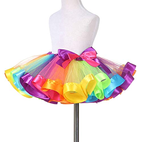 TRADERPLUS Little Girls Layered Rainbow Ribbon Tutu Skirt Dress Ballet Tiered (Small / 1-3 -