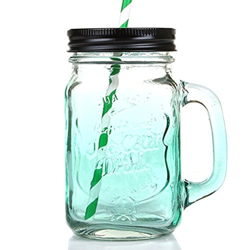 green mason jars with handles - 1