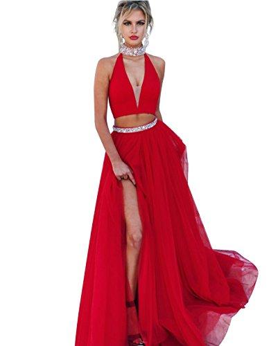 2 Prom Sexy Schlitz Kristall Neck Seite Kleider High Lovelybride Stück Perlen Rot Frauen vaOqRwY