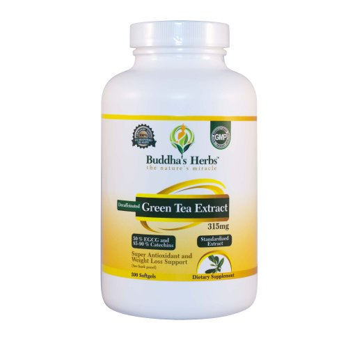 Buddha's Herbs Decaffeinated Green Tea Extract 315 mg (50 % EGCG, 85-90% Catechins), 200 Softgels