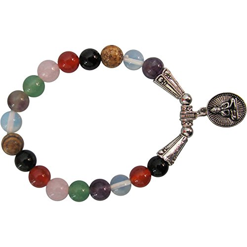 [Fashion 8mm Seven Chakra BUDDHA Yoga Meditation Stretch Charm Bracelet] (1920s Beach Costume)