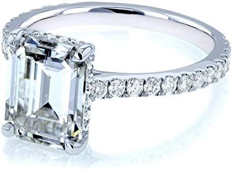 Kobelli Emerald-cut Moissanite Engagement Ring 2 7/8 CTW 14k White Gold