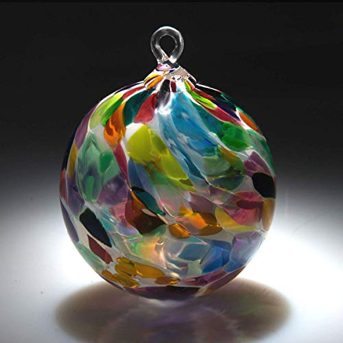 - Ornament. Sun catcher. Hand blown Fine Art Glass Ornament in White Magic Made in Seattle. Artist Dehanna Jones.