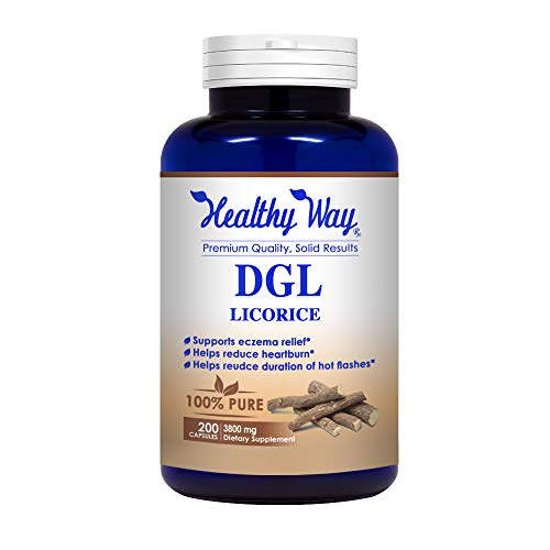 Healthy Way Best DGL Licorice Extract 3800mg 200 capsules - Supports Digestive & Respiratory Function - NON-GMO USA Made 100% Money Back Guarantee - Order Risk Free! ()
