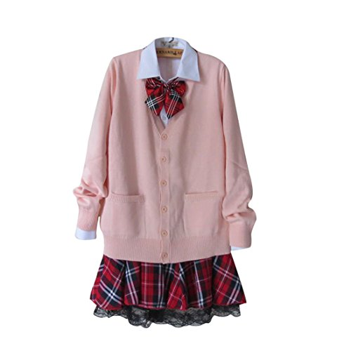 [Lemail wig Women's Long sleeve School Uniform Three-piece Suit Sweater Pleated Skirt CC94A-XXL] (School Girl 4 Piece Costumes)
