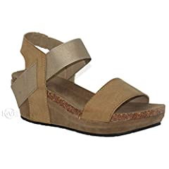 7a3260aca83b Women s Open Toe Strappy Wedge - Summer Vegan Leather Platfor .
