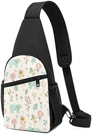 ボディ肩掛け 斜め掛け クマと植物 ショルダーバッグ ワンショルダーバッグ メンズ 軽量 大容量 多機能レジャーバックパック