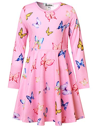 Cute Girls Dresses Butterfly Printed Pink Casual Long Sleeve Clothes Teen -