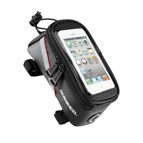 """Roswheel 2013 New Waterproof Bicycle Cycling Frame Pannier Front Tube Bag w/ Headphone Jack (Including Clear PVC Window Pouch for 5.5"""" Cell Phone, Reflective Strips for Safe Night Riding)"""