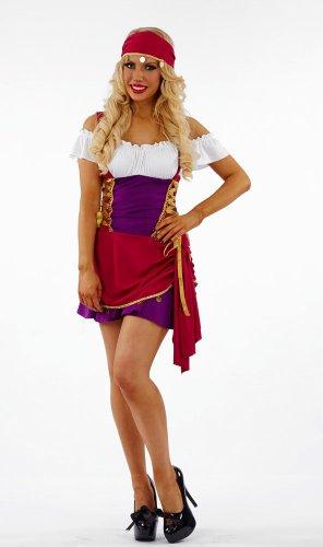 Gypsy Costume Uk (Fortune Teller Gypsy Female Fancy Dress Costume - Medium (US 10-12))
