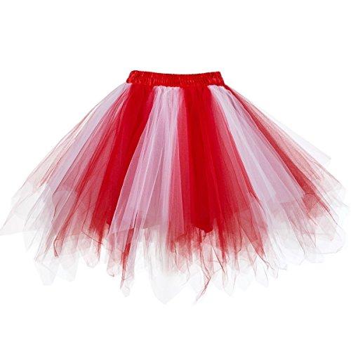 Dressever Vintage 1950s Short Tulle Petticoat Ballet Bubble Tutu Red/White XXLarge/XXX-Large
