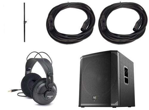 (Electro-Voice ELX218SP Subwoofer Package with Subwoofer Pole, Headphones, and 2 Microphone Cable)